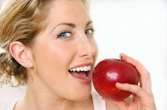 Apple fruit eating for teeth