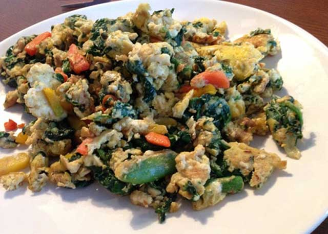 Eggs and Vegetables low carbohydrate breakfast recipe