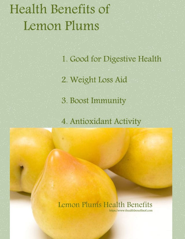 Health benefits of lemon plums fruit diagram
